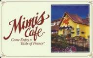 <h5>Mimis Cafe Gift Card  $25*</h5><p>A Tasteful Gift.   *Face value of gift card plus $3.00 handling per gift card. The gift card and accompanying greeting card will be sent USPS First Class Parcel within the U.S.A, which includes mail tracking.  Insurance can be added.  See FAQ/Pricing tab for insurance pricing.  Contact us for out of the U.S.A. postage prices.</p>